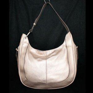 Tignanello Metallic Gold Pebbled Leather Hobo Bag